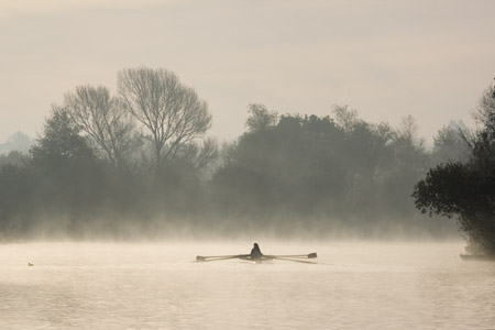 Rowing practice on the Thames at Oxford 3- early winter morning